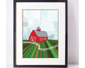 FarmIsh: Giclee Print, Art Print, Arrows, Farm, Barn, Wall Art, Wall Decor
