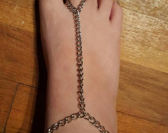 Silver Chain Anklet with Toe Ring