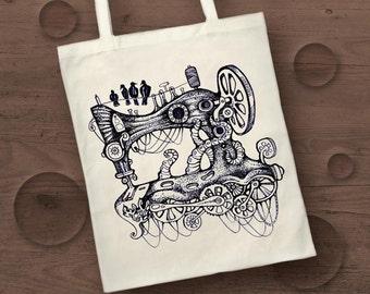 steampunk sewing machine screen print cotton tote bag