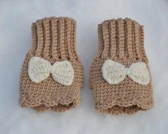 Bow fingerless gloves, kids hand warmer