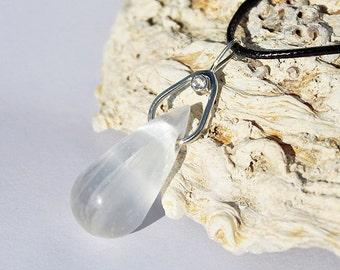 Selenite pendant 925 sterling silver - selenite necklace - zirconia - cz