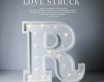 Letter R Lights, distressed letter lamps, diy led channel letters, home party letter lights, LED sign, In stock