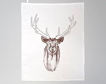 dish towel, deer, brown, linen, cotton