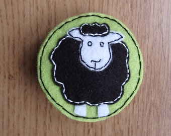 Black and White sheep brooch