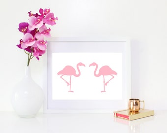 DIGITAL DOWNLOAD, Pink Flamingo art, Flamingo
