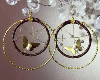 Handmade Turquiouse Gems butterfly earring