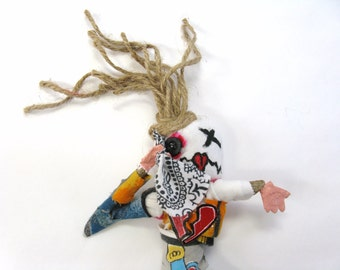 Broken Heart Voodoo Doll, Break Up, Mixed Media Art, Female Doll, Friend's Gift, Folk Art, Sad Doll, Get Well Gift, Pin Doll or Poppet