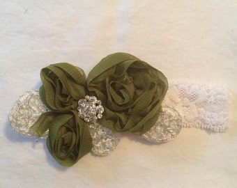Olive Imperial Lace Chiffon Flower Baby Girl Headband