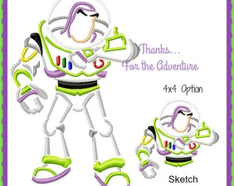 Buzz Lightyear Space Ranger from Toy Story Sketch Digital Embroidery Machine Design File 4x4 5x7 6x10