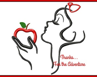 Snow White with Poison Apple Sketch Digital Embroidery Machine Applique Design File 4x4 5x7 6x10