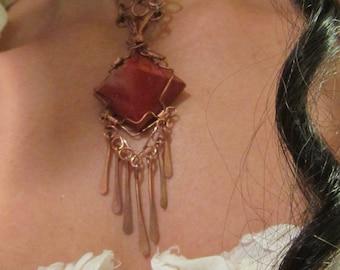 Pyramid copper necklace