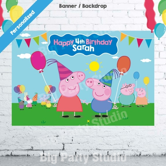 Peppa Pig Banner Peppa Pig Birthday Banner By: Peppa Pig Happy Birthday Backdrop Peppa Pig By Bigpartystudio