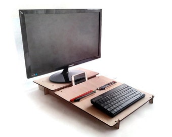 SALE Laser cut wood office organizer,computer stand,laptop riser,wooden tablet stand,desk shelf,wood laptop stand,computer organizer