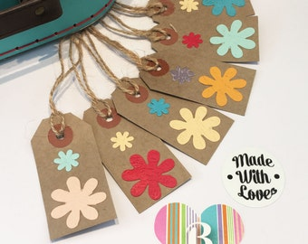 Handmade flower gift tags