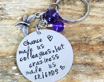 Hand Stamped Personalised Message Present Metal Keyring Work Colleague Friend