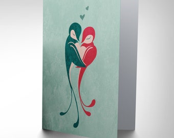 New Love Birds Embrace Hearts Texture Art Greetings Greeting Card Gift Cp1587