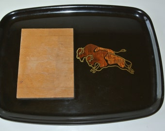 Couroc Monterey California Modern Inlaid Buffalo Cheese Tray 1970s/Nice