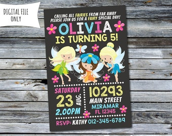 Fairy Invitation / Fairy Birthday Invitation (Personalized) Digital Printable File