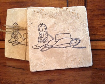 Coasters, Stone Coasters, Cowboy Gifts, Cowboy Boot, Farmhouse Decor, Country Coasters, Farm Coasters, Farm Gift Ideas,  Cowboy Hat, Rustic