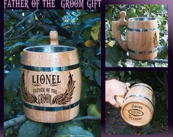 Father of the Groom Gift/Beer Mug/Personalised Wedding Beer Mugs/Wedding Gift Fo Parents/Dad Wedding Gift/Wooden Beer Mug/Wedding Favor Gift