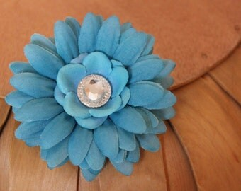 Teal Flower Hair Clip