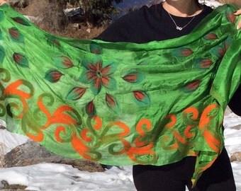 Nuno felted shawl/scarf, wool, silk