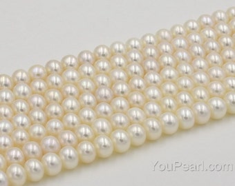AAA white freshwater pearl beads, 6.5-7mm off round, blemish free thick nacre pearl, high luster pearls, full strand, FR360-WS