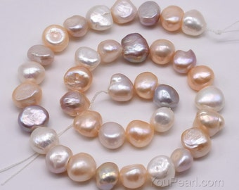 Multicolour pearls, 10-11mm freshwater pearl beads, baroque nugget pearl, natural colour pearls, up to 2.5mmm large hole available, FN750-MS