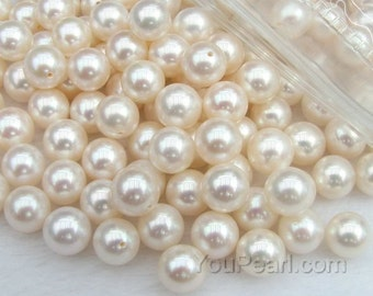 AA+ 8.5-9mm round pearl, white half drilled fresh water loose pearl beads, natural real half hole pearl round loose beads, FLR8590-W