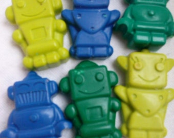 Recycled Crayons - Robots - Set of 6 - Children Birthday Party Favor