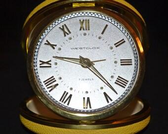Westclox 7 Jewels Travel Alarm Clock, Vintage