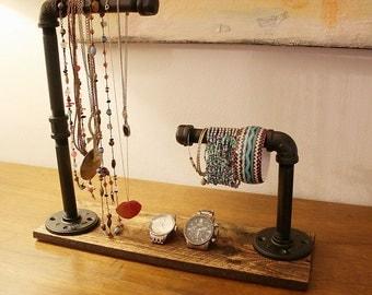 industrial jewelry organizer, wood jewlery stand, jewelry stand, jewelry organizer, neclace holder, wood jewelry organizer, watch holder
