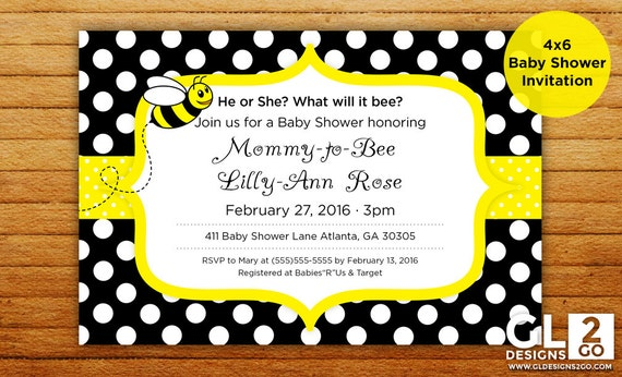 bee baby shower invitation what will it bee mommy to bee 4x6 digital