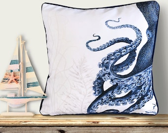 Octopus Pillow Cover - Blue and White Pillow Nautical Pillow Nautical Decor Octopus Decor Beach House Decor Coastal Living Coastal Decor