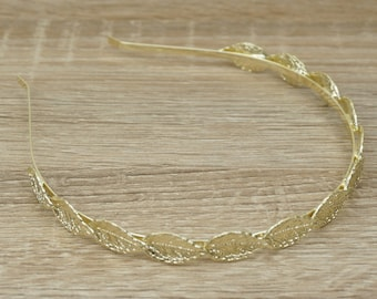 Greek Gold Leaf Headband, Grecian Leaf Headband, Gold Leaf Crown, Gold Leaf Tiara, Wedding Headband, Laurel Crown leaf, Laurel Leaf headband
