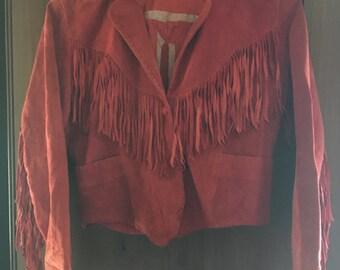 Vintage red fringe jacket