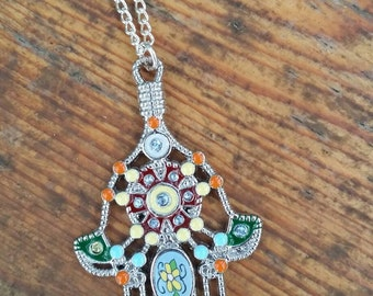 Hamsa hand pendant necklace. *Gorgeous detail*