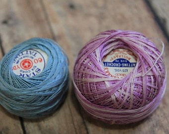 Antique Tatting Thread-Star brand 6 thread-vintage thread balls-primitive country decor-boil fast cotton-crochet thread-spools-skeins