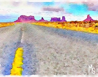 Road to Monument Valley Watercolor