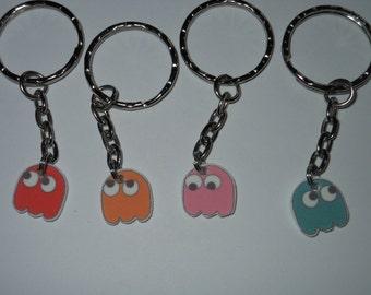 Pacman inspired ghost keyrings
