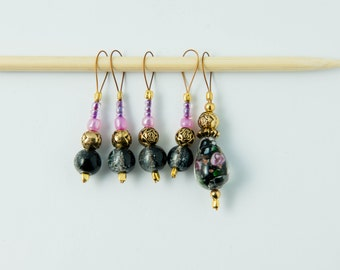 Set of 5 Black and Pink Glass bead Snag-free stitch markers for knitting.