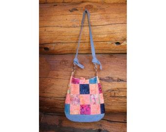 Patchwork denim purse, patchwork cross body bag, denim hobo, hobo bag, hippie bag, boho bag, denim sling, denim slouch bag, recycled denim