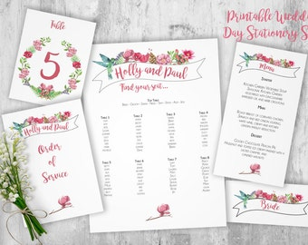 DIY Vintage Floral Rustic Banner Printable Wedding Day Suite - Table Plan/Place Names/Table Numbers/Menu Cards/Order of Service