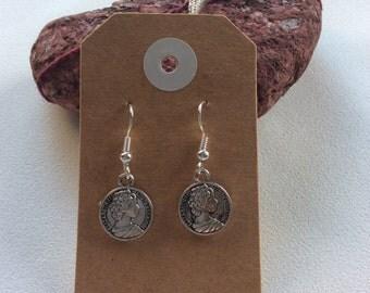 Vintage inspired Australian coin drop earrings hippy boho handmade jewellery