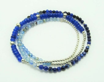 Triple bracelet of agate blue and Pewter