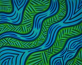 "Rainforest Rush, 16""x20"", Abstract Acrylic Painting on Stretched Canvas, Blue, Green, Tribal Pattern"