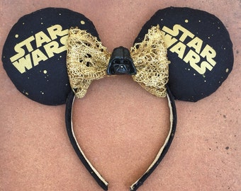 Darth Vader Star Wars Theme black and gold Minnie Mouse Ears
