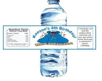 Sesame Street Inspired Water Bottle Labels Featuring Cookie Monster Nom Nom Nom Birthday Set of 10