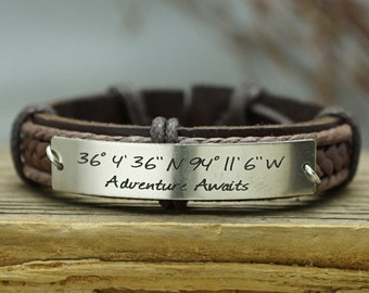 Custom Coordinates Bracelet, Adventure Awaits Jewelry, Custom Mens Leather Bracelet, Engraved Bracelet, Genuine Leather Cuff, Adventure Gift