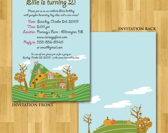Pumpkin Patch party invitation, printable digital file